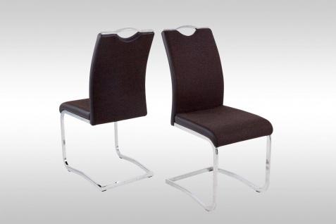 4 x Schwingstuhl dunkelbraun Webstoff Stuhlset Freischwinger günstig preiswert