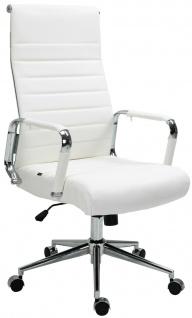 Bürostuhl 136 kg belastbar weiß / chrom Echtleder Chefsessel Drehstuhl stabil