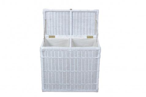 Wäschesortierer mit 2 Fächern Wäschekorb Wäschesammler Wäschetruhe weiß Rattan