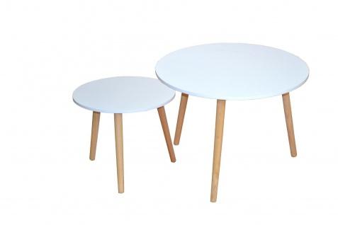 2er Set Beistelltische weiß Massivholzbeine Rund Couchtisch modern design