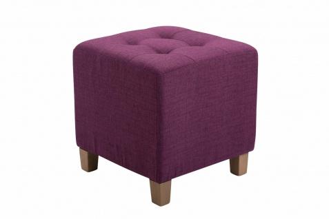 Sitzhocker Stoffbezug lila Sitzwürfel Sitzbank Hockerbank antik Vintage Ottomane