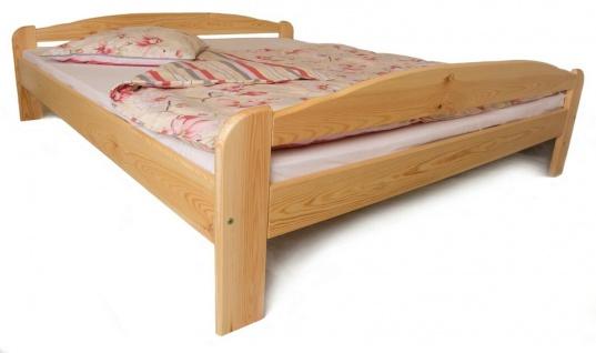 Holzbett 180x200 cm Kiefer massiv Natur lackiert Komfortbett Ehebett Doppelbett