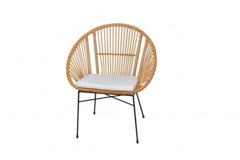 moderner Rattansessel mit Kissen Auflage honigfarben Sitzschale Rattanstuhl