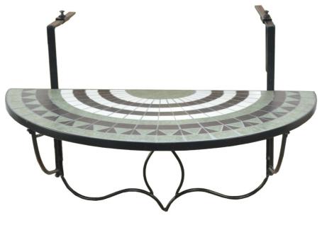 Balkontisch zum Einhängen Mosaik Eisen schwarz/grün Balkonhängetisch Hängetisch