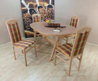 Tischgruppe Buche natur gelb braun massiv 4 x Stühle Esstisch Auszugitsch modern
