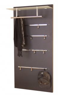 Garderoben-Paneel schwarz modern Wandgarderobe design Garderobenleiste Milchglas