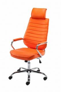 Bürostuhl 120 kg belastbar Kunstleder orange Chefsessel Drehstuhl modern design