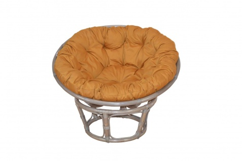 Papasansessel grau Kissen ocker 80 cm Rattan Relaxsessel Korbsessel Auflage neu
