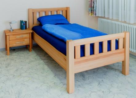 Komfortbett 100 x 200 cm Kernbuche massivholz geölt Bett Einzelbett Seniorenbett