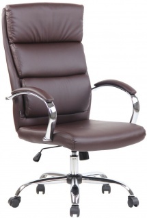 Bürostuhl braun Kunstleder Chefsessel Drehstuhl Schreibtischstuhl Computerstuhl
