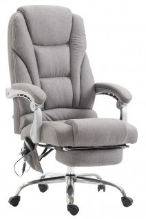 XXL Bürostuhl 150 kg belastbar hellgrau Stoffbezug Chefsessel Massagefunktion