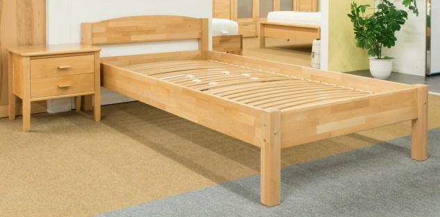 Holzbett 120x200 cm Buche natur massivholz Einzelbett Seniorenbett Kinderbett