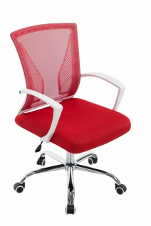 Bürostuhl ergonomisch rot Netzbezug Drehstuhl Computerstuhl stabil belastbar