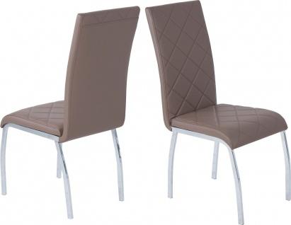 4 x Esszimmerstühle cappuccino Leder-Look Stuhlset Stuhlgruppe günstig preiswert