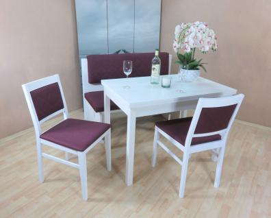 Essgruppe weiß violett Dinninggruppe Tischgruppe 2 x Stühle Esstisch modern neu