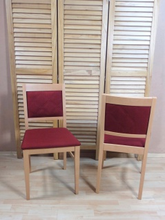 2 x Stühle massiv Buche rot Esszimmerstühle Küche modern design günstig neu