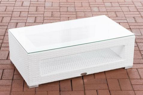 Tisch weiß Gartentisch Loungetisch Rattantisch Glastisch flach Outdoor Garten