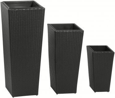 3er Set Pflanzkübel Blumenkübel Polyrattan Rattankübel Kunststoffeinsatz schwarz