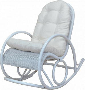 Rattan Schaukelstuhl weiß inkl. Auflage Kissen Relaxsessel Schwingstuhl Sessel