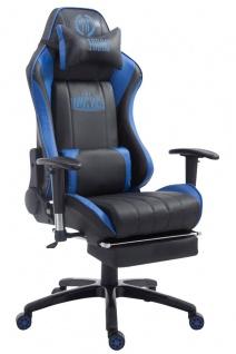 XL Bürostuhl 150kg belastbar schwarz blau Chefsessel Fußablage Zocker Gamer