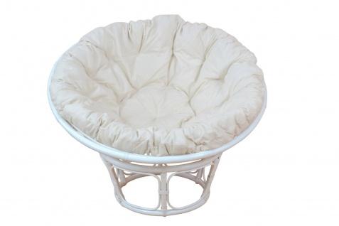 Papasansessel weiß Ø 80 cm Auflage Kissen Rattansessel Sessel Rattan Rattanstuhl