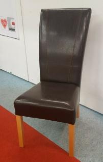 4x Esszimmerstühle Kunstleder braun glänzend Stuhlset Polsterstuhl modern design