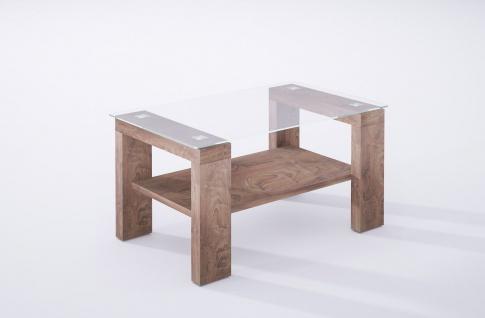 hochwertiger Couchtisch nussbaum Glastisch Sofatisch modern design Wohnzimmer