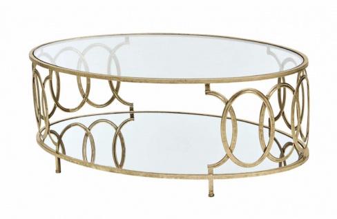Couchtisch Tisch Beistelltisch Glastisch Metalltisch Metall/Glas Farbe Gold neu - Vorschau 4