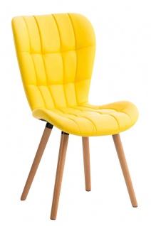 Esszimmerstuhl gelb Holzbeine Lehnstuhl Küchenstuhl Kunstleder modern design