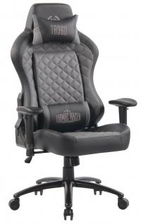 XL Bürostuhl 150 kg belastbar schwarz grau Kunstleder Chefsessel Gamer Zocker