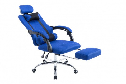 Chefsessel 115 kg belastbar blau Kopfstütze Fußablage design Bürostuhl modern