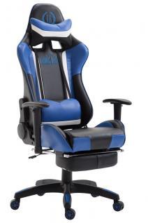 XL Chefsessel schwarz blau Kunstleder Bürostuhl modern design hochwertig stabil
