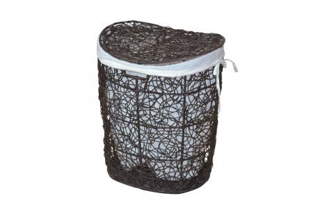 Wäschekorb braun Rattanrohr handgeflochten Wäschetruhe Wäschebox Deckel Griff