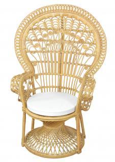 moderner Pfauenthron beige Rattansessel Sessel Rattanstuhl hochwertig design