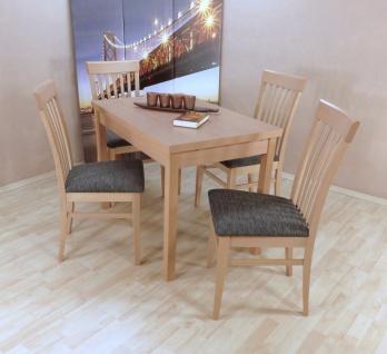 Tischgruppe Buche massiv natur anthrazit Essgruppe 4 x Stühle Esstisch Holz