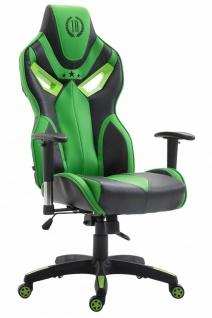 Bürostuhl 150 kg belastbar schwarz grün Kunstleder Chefsessel Zockerstuhl Gaming