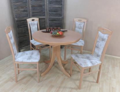 Tischgruppe Buche natur Essgruppe 4 Stühle Esstisch auszug rund massiv günstig