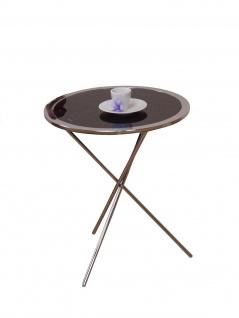 runder Beistelltisch schwarz Tisch Glastisch Couchtisch Beitisch modern design