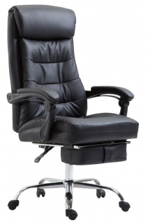 Chefsessel belastbar 136 kg Kunstleder schwarz Bürostuhl klassisch Fußablage neu