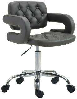 Bürostuhl grau feinstes Kunstleder Drehstuhl Arbeitshocker modern design stabil