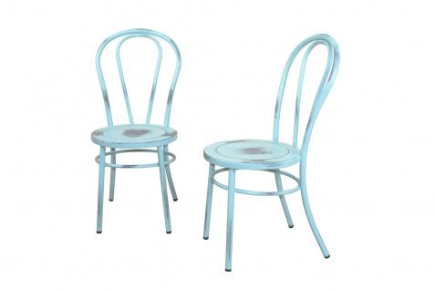 2 x Stühle antik blau Metallstuhl used look Küche Esszimmer Wohnzimmer Stuhlset