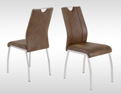 4 x Stühle dunkelbraun Kufe Edelstahl-Look Vintage Stuhlset Esszimmer Küche neu