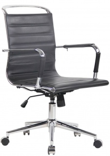 "Bürostuhl "" Echtleder"" schwarz 136kg belastbar Drehstuhl Schreibtischstuhl stabil"
