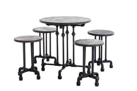 industrial Bar-Set schwarz Essgruppe Sitzgruppe Esstisch Hocker Stühle Industrie