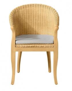 moderner Rattansessel beige Kissen Auflage massivholz Sessel Rattan Rattanstuhl
