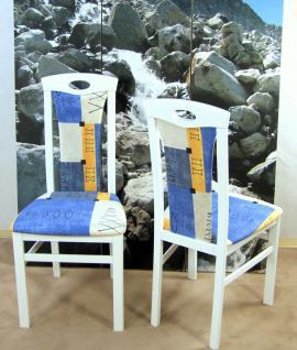 2er-Set Esszimmerstuhl massivholz weiß blau Stuhlset Stühle Polsterstuhl neu
