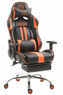 XL Chefsessel 150 kg belastbar schwarz orange Bürostuhl Fußablage Zocker Gamer