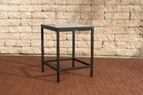 Polyrattan Garten Bartisch schwarz Gartentisch Esstisch Glastisch Outdoor