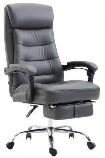 XL Chefsessel belastbar 136kg Kunstleder grau Bürostuhl Fußablage modern design