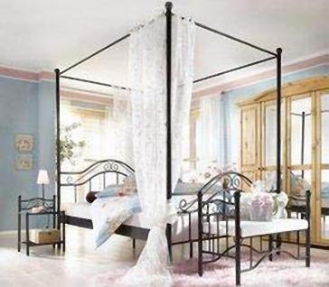 Himmelbett schwarz 90x200 Metallbett romantisch Ehebett günstig preiswert neu